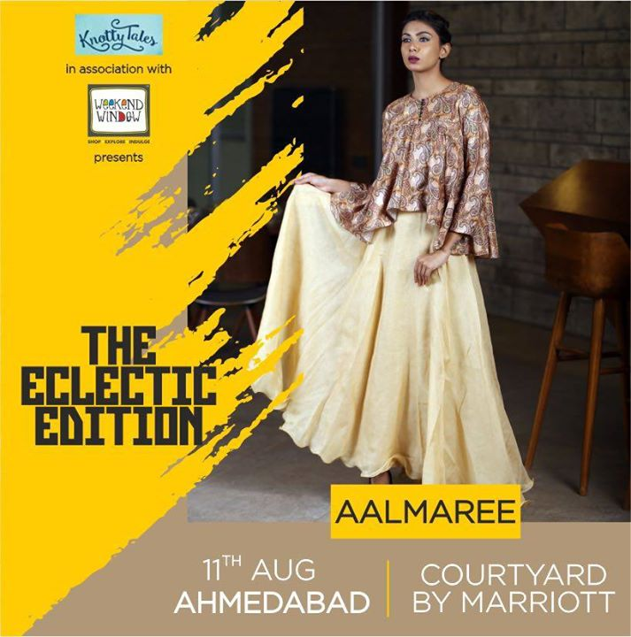 Festive season marks the beginning of all things auspicious. To make your days beautiful and fashion fueled #Aalmaree brings to you an exclusive range of dresses that will leave you spellbound. Check them out only at #WeekendWindow #Knottytales present #TheEclecticEdit on 11th August at Courtyard by Marriott  #weekendwindow #knottytales #eclecticedit #luxury #shopping #fashion #style #trends #luxuryshopping #women #womenwear #womenfashion #luxuryshopping #happyshopping #shoptillyoudrop #happyshopping #eatshoplove #loveforshopping #cosmopolitan #indian #shoppop #pop #courtyard #ahmedabad primejewelryExcellent!