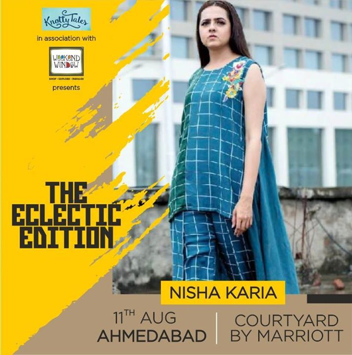 Inspired by natural elements and India's environment as a cultural melting pot, NISHA KARIA creates sustainable fashion that speaks for itself. Her latest collection plays with the experimental silhouette while maintaining classic embroidered motif symbols. ----------------------------------------------------------- 📍Experience Nisha's collection at #WeekendWindow #TheEclecticEdit in association with #Knottytales the Courtyard Marriot, Ahmedabad on the 11th of August  -------------------------------------------------------- #theeclecticedit #weekendwindow #knottytales #indian #designer #nishakaria #ahmedabad #local #talent #checkmate #collection #silhouettes #embroidery #handcrafted #experiment #unique #sustainable #fashion #art — at Courtyard by Marriott Ahmedabad