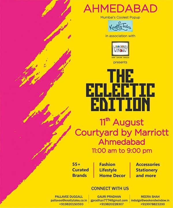 Ahmedabad! Come, Shop till you Drop + Indulge. We are 5 days away from the #WeekendWindow & #Knottytales - #TheEclecticEdit at Courtyard By Marriott.  Hosting designers from all over India, this popup has something for everyone - a bit of sassy, classy, quirky and festive-fun infused shopping! Fill your closets with the season's trend-setting fashion + indulge in lip-smacking food. Don't miss!  #fashion #ethnic #fusion #modern #fashionblogger #fashionpost #ahmedabad #collection #designer #accessories #shoes #jewelry #merchandise