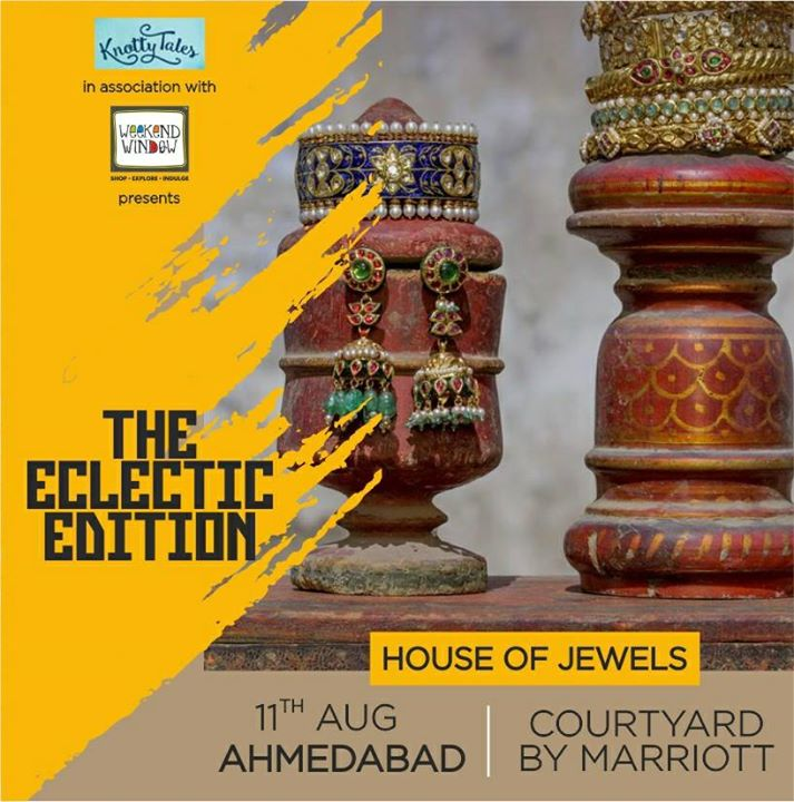 Mahesh and Darshil Jhaveri bring to you a unique jewellery experience brewed over 45 years. Get ready to fall in love with intricate, handcrafted designs which highlight the beauty of Ancient India.  ---------------------------------------- Travel back in time at #WeekendWindow #TheElecticEdit in association with #KnottyTales The Courtyard Marriot, Ahmedabad on the 11th of August  ------------------------------------------ #jewellery #designers #exclusive #luxury #ancient #beautiful #india #celebration #timetravel #ahmedabad #courtyardbymarriot #knottytales #maheshjhaveri #darshiljhaveri #houseofjewels — at Courtyard by Marriott Ahmedabad.