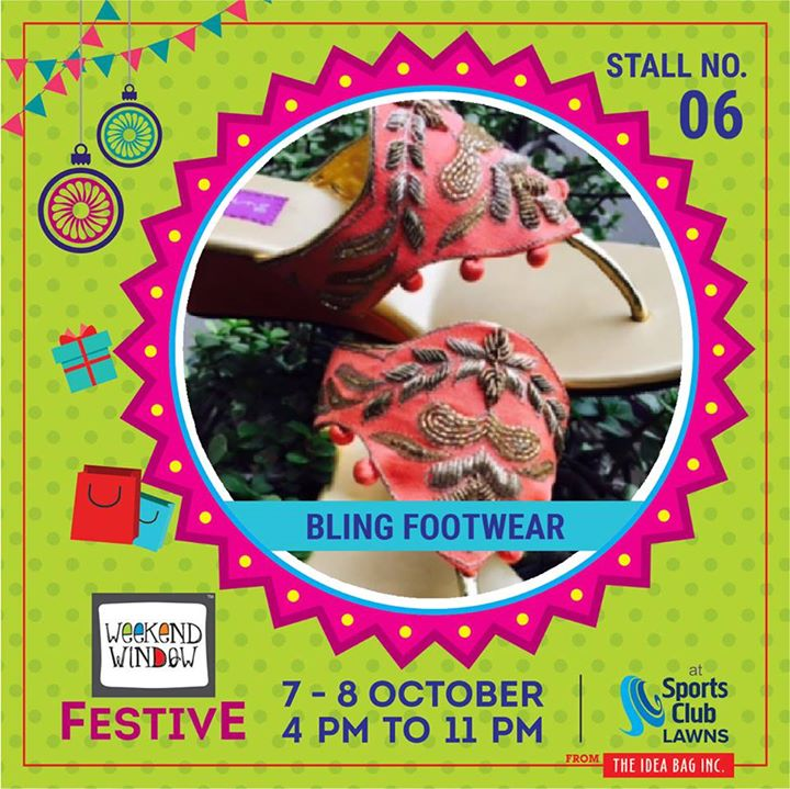An exclusive range of handcrafted footwear by Bling footwears is customized to perfection to add the much needed style & comfort for upcoming festivities. #diwalipreparations #weekendwindow #theideabaginc #curatedevent #diwalishopping #weekendwindowfestive #fleastival #prediwali #shopping #diwaligifting #Bling #Footwears #unique  #sportsclubofgujarat #diwalivibes #festivevibes #whatwomenwant #shoptillyoudrop #kidsactivities #workshops #learning #craft #Foodaholics #Fun #Entertainment #music #enjoyement #love #foodbitting #Fleamarket  #friendship
