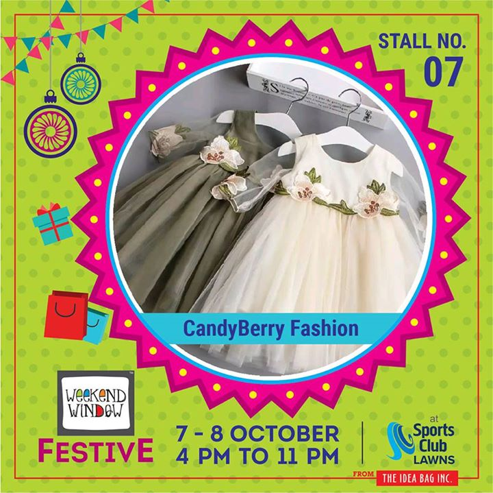A bright playground of interactivity full of visual surprise inspired by CandyBerry Exports's perception of color & form.Exclusive & Trendy range of kids fashion clothing & accessories for infants, toddlers & kids up to 14 years of age. #diwalipreparations #weekendwindow #theideabaginc #curatedevent #diwalishopping #weekendwindowfestive #fleastival #prediwali #shopping #diwaligifting #poptasticcolors #kidsfashion  #sportsclubofgujarat #diwalivibes #festivevibes  #whatwomenwant #shoptillyoudrop #kidsactivities #workshops #learning #craft #Foodaholics #Fun #Entertainment #music #enjoyement #love #foodporn #foodbitting #Fleamarket #learning