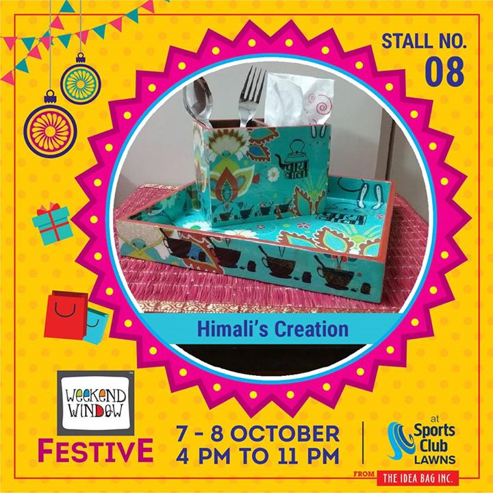 This coming festivel season give a personal touch to your home decor. Match your style and color with their vast variety of trays,boxes, cutlery set,platters and many more items! Exclusive gift idea options for anniversary gifts, corporate gifts, housewarming, wedding etc. Himali's Creation    #weekendwindow #theideabaginc #curatedevent #diwalishopping #weekendwindowfestive #prediwali #shopping #diwaligifting #sportsclubofgujarat #diwalivibes #festivevibes #festivities #whatwomenwant #shoptillyoudrop #kidsactivities #workshops #art #craft #Foodaholics #Fun #Entertainment #music #enjoyement #love #foodporn #foodbitting #Fleamarket  #homedecor