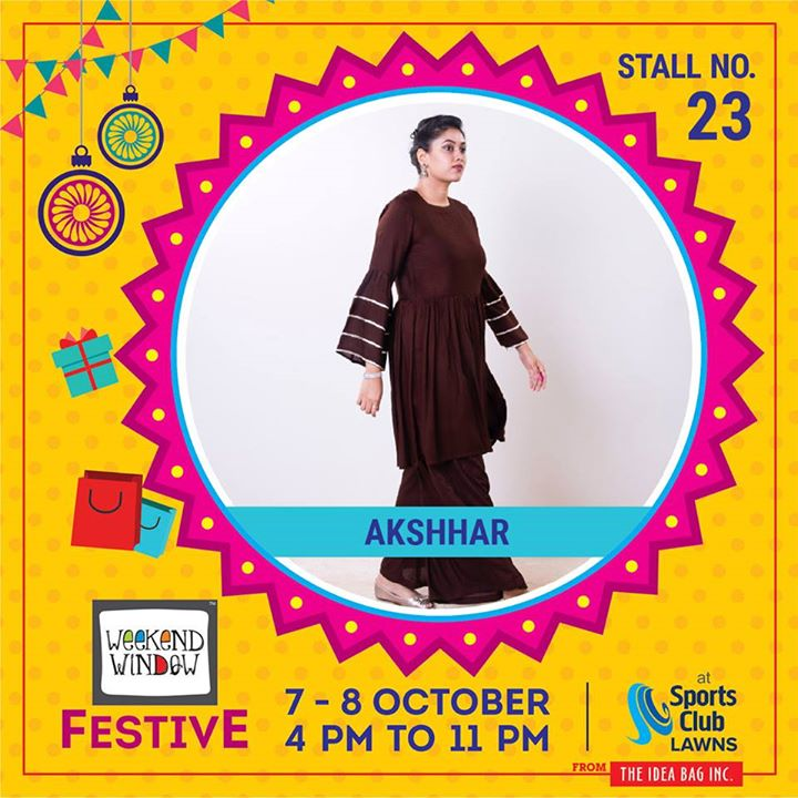 Akshhar as a brand correlates with Simplicity and Elegance.They are focusing on minimalism as a key to create stylish yet comfortable outfits for their  customers. Understanding the Corporate Social Responsibility and environmental responsibility they use hand loom, organic and sustainable fabrics.​  #weekendwindow #theideabaginc #curatedevent #diwalishopping #weekendwindowfestive #prediwali #shopping #diwaligifting #sportsclubofgujarat #diwalivibes #festivevibes #festivities #shoptillyoudrop #kidsactivities #workshops #art #craft #Foodaholics #Fun #Entertainment #music #enjoyement #love #foodporn #foodbitting #Fleamarket