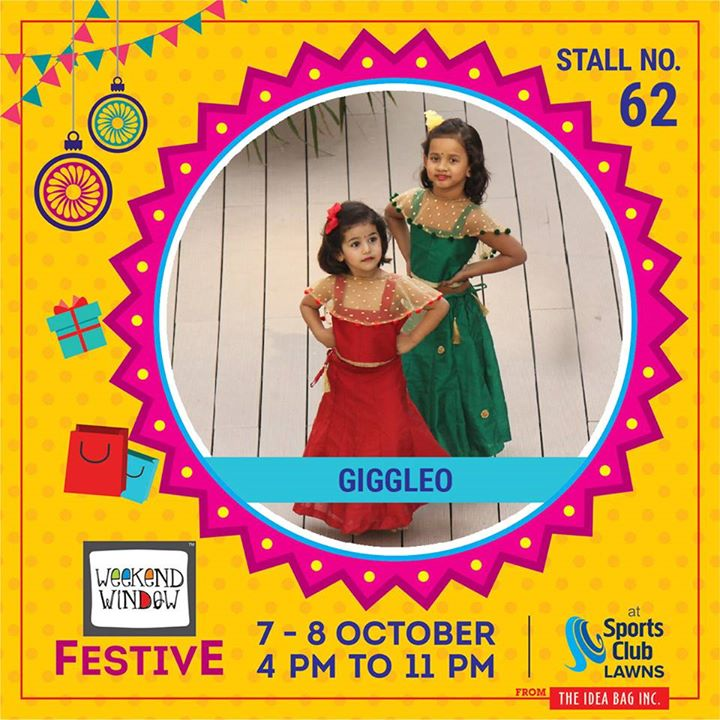 Giggleo induce giggles in kids by their vibrant colors designs and comfort.They are into custom design of 'ethnic'  wear garments for girl kids from the age group 2 years to 10 years. Get Diwali ready with their latest KIDS EXCLUSIVE collection of cholis, Anarkalis, floor length gowns and indo-westerns. #weekendwindow #theideabaginc #curatedevent #diwalishopping #weekendwindowfestive #prediwali #shopping #diwaligifting #sportsclubofgujarat #diwalivibes #festivevibes #festivities #shoptillyoudrop #kidsactivities #workshops #art #craft #Foodaholics #Fun #Entertainment #music #enjoyement #love #foodporn #foodbitting #Fleamarket