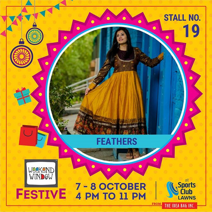Feathers is creating a range of festive. Fabrics used are Chanderi mixed with beautiful traditional Patola borders, Mul cotton, Handwoven Khadi. They are introducing hand painted exclusive collection.  #weekendwindow #theideabaginc #curatedevent #diwalishopping #weekendwindowfestive #prediwali #shopping #diwaligifting #sportsclubofgujarat #diwalivibes #festivevibes #festivities #shoptillyoudrop #whatwomanwants #kidsactivities #workshops #art #craft #Foodaholics #Fun #Entertainment #music #enjoyement #love #foodporn #foodbitting #Fleamarket
