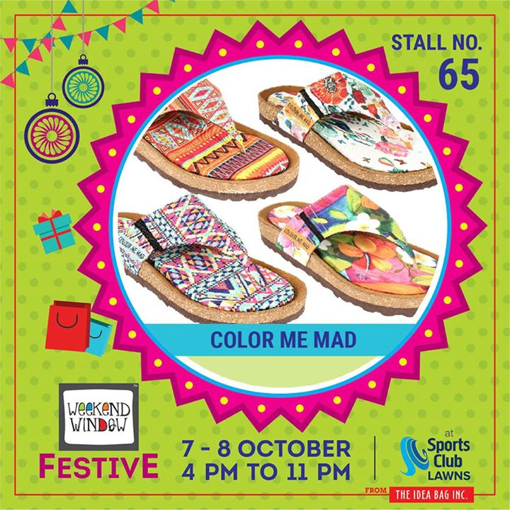 Colour Me Mad provides footwear which are creative, full of colors  and at the same time very comfortable too. It improves body postures and is made of natural cork, rubber, latex etc.They are ideal for flat feet, cones and those with foot swellings. #weekendwindow #theideabaginc #curatedevent #diwalishopping #weekendwindowfestive #prediwali #shopping #diwaligifting #sportsclubofgujarat #diwalivibes #festivevibes #festivities #shoptillyoudrop #whatwomanwants #kidsactivities #workshops #art #craft #Foodaholics #Fun #Entertainment #music #enjoyement #love #foodporn #foodbitting #fleamarket
