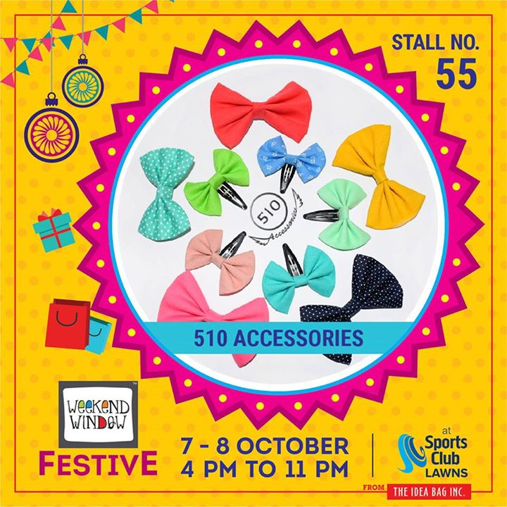 This festive season look BOWtiful with their Bows and Fashion Accessories. Travel with 510 Accessories's unique fabric pouches available in different shapes and sizes. Everything is handmade with love and one of its kind.  #weekendwindow #theideabaginc #curatedevent #diwalishopping #weekendwindowfestive #prediwali #shopping #diwaligifting #sportsclubofgujarat #diwalivibes #festivevibes #festivities #shoptillyoudrop #whatwomanwants #kidsactivities #workshops #art #craft #Foodaholics #Fun #Entertainment #music #enjoyement #love #foodporn #foodbitting #Fleamarket