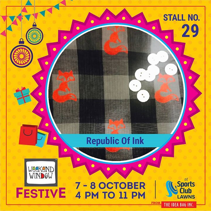 The more you can mix fabric, the more fashion forward you are.  Republic of Ink is a brand which makes customized printed fabrics which consists of denims, block printed art, colourful tassels & much more. #weekendwindow #theideabaginc #curatedevent #diwalishopping #weekendwindowfestive #prediwali #shopping #diwaligifting #sportsclubofgujarat #diwalivibes #festivevibes #festivities #shoptillyoudrop #whatwomanwants #kidsactivities #workshops #art #craft #Foodaholics #Fun #Entertainment #music #enjoyement #love #foodporn #foodbitting #Fleamarket