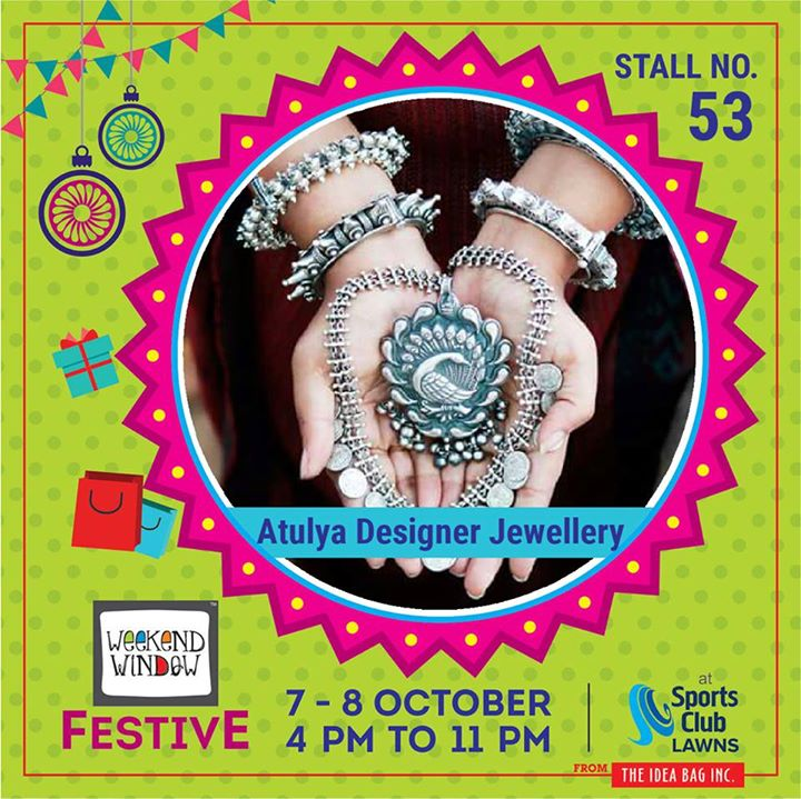 Atulya Designer Silver Jewellery understands the changing needs of a woman and offers varied range of diamond jewelry, gold and silver jewelry collections and gift Articles #weekendwindow #theideabaginc #curatedevent #diwalishopping #weekendwindowfestive #prediwali #shopping #diwaligifting #sportsclubofgujarat #diwalivibes #festivevibes #festivities #shoptillyoudrop #whatwomanwants #kidsactivities #workshops #art #craft #Foodaholics #Fun #Entertainment #music #enjoyement #love #foodporn #foodbitting #Fleamarket