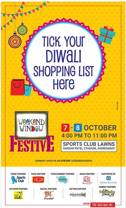 Venue : Sports Club of Gujarat Lawn, Ahmedabad Date : 7-8 October, 2017 Time : 4pm to 11pm #weekendwindow #theideabaginc #prediwali #diwalivibes #shopping #fun #foodaholic #entertainment #shoptillyoudie #music #stageperformance #dance #diwalicollection #fleastival #sportsclub #festive #diwali #shoptillyoudrop