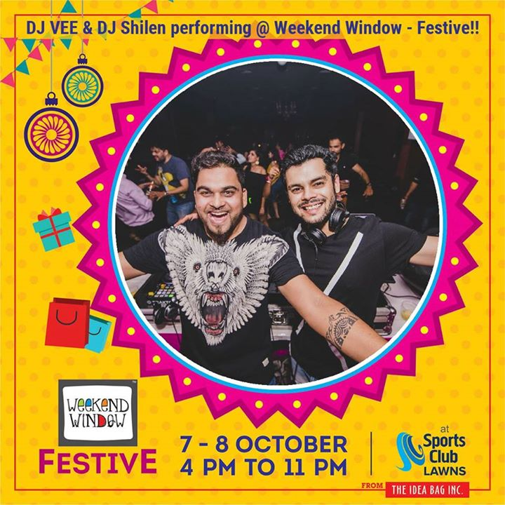 Playing live @ 4p.m. with Dj Vee & DJ Shilen Venue : Sports Club Date: 7th-8th Oct 2017  #weekendwindow #theideabaginc #curatedevent #diwalishopping #weekendwindowfestive #prediwali #shopping #diwaligifting #diwalivibes #shoptillyoudrop #kidsactivities #enjoyment #love #foodporn #foodbitting #fleamarket