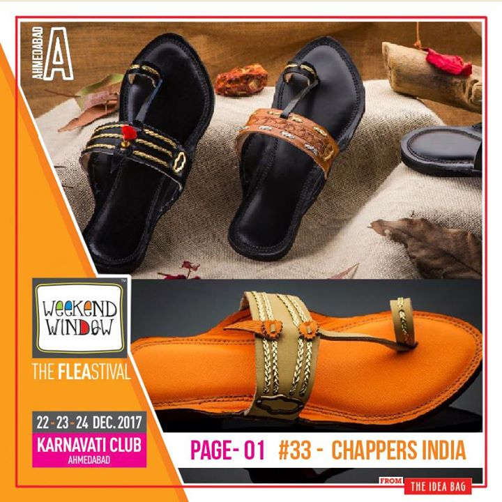 "Chappers India  makes the most authentic, premium, good quality, handcrafted leather sandals inspired from the taditional Indian Kolhapuri chappals.  Aaree Accessories a handcrafted costume jewellery brand, is a fine amalgamation of contemporary, classic and exquisite jewellery to pair it up for all the occasions.  T H E A R C H Y is know as a Surface Design Studio that translates its in-the-presnt aesthetics to contemporary yet modern lifestyle and home decor products.  @loofahorgancis is a fairly new brand, launched this year. Their entire product range is home made, using natural ingredients, no harsh chemicals used.  Lilpitaara  ""UNBOX the NEW YOU"" - sew/craft Clothes, Footwear that make your kids happy; from choosy to naughty ones all love to dress themselves in this PITAARA.  Almond A finely handcrafted accessory brand, which forays into different collection of accessories, which works well with stones, crystals, leather, brass, semi precious stones to make most intricate jewelleries for all beautiful ladies.  KP's Creation  Provides various handmade products which can be gifted or can be used for Home Décor.  The Glu Affair  brand designs theme-based collection in collaboration with multiple illustrators and designers.  The tie hub The one stop destination for stylish men's accessories including neckties, bow ties, cufflinks, scarfs, belts and a wide range of other products.  Date: 22-23-24 December, 2017 Time: 4 pm to 11 pm Venue: Karnavati Club Lawn, Ahmedabad #weekendwindow #theFLEAstival #theunbeatable #shop #explore #indulge #fleamarket #workshops #love #BeardoWeekendWindow"