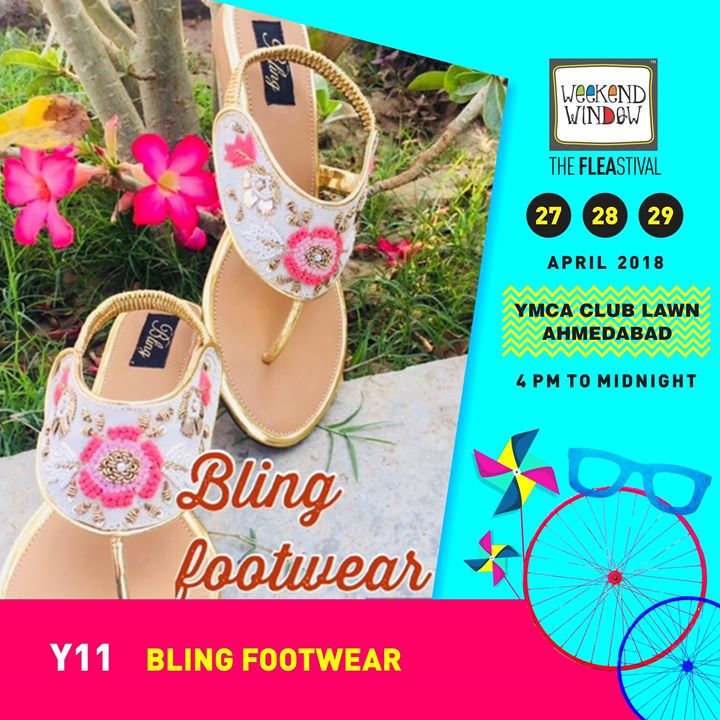 Bling footwears : This summer we bring to u an exclusive collection of stylish trendy comfortable and custom made footwear for you to beat the summer in style.  Date:27-28-29 April Venue: YMCA International Centre - Ahmedabad Time: 4pm to midnight  #weekendwindow #theFLEAstival #footwear#happyfeet #fleamarket #shopping