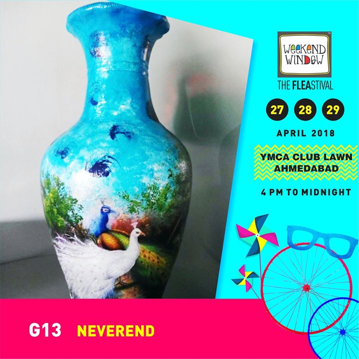 Make beautiful an everyday thing with marvellous hand painted art pieces, Pots, Glass Bottles, Plates, Jars, Tie and Dye apparels for all ages and many more magnificent items!  Weekend Window 27-28-29 April, 2018 YMCA International Centre - Ahmedabad, 4pm onwards  #weekendwindow #theFLEAstival #summerfashion #musthaves #handmade #handcrafted #homedecor #styleyourway #shoppingfun
