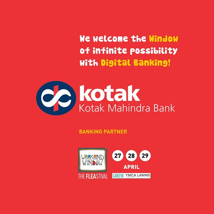 Proud to associate with Kotak Mahindra Bank Ltd. ,  one of India's leading banking and financial services groups, offering a wide range of financial services that encompass every sphere of life!  Be ready to explore Digital Banking with Infinite Possibilities with Kotak Mahindra Bank at Weekend Window!  #KotakMahindra #BankingPartner #DigitalBanking #explore #WeekendWindow #fleastival #happiestplacetobe