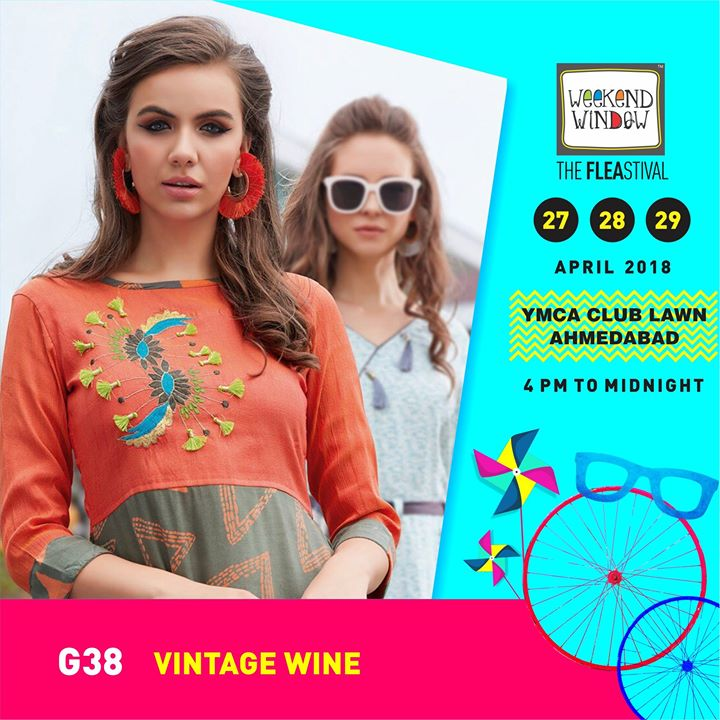 Vintage Wine where you'l find a summery mix of ethnic collection as well as western fashionable wear!  Weekend Window Date:27-28-29 April Venue: YMCA International Centre - Ahmedabad Time: 4pm to midnight  #weekendwindow #theFLEAstival #designerwear #fashioncollection #summerwear #ww13 #fleamarket #shopping #kids #music #food #entertainment