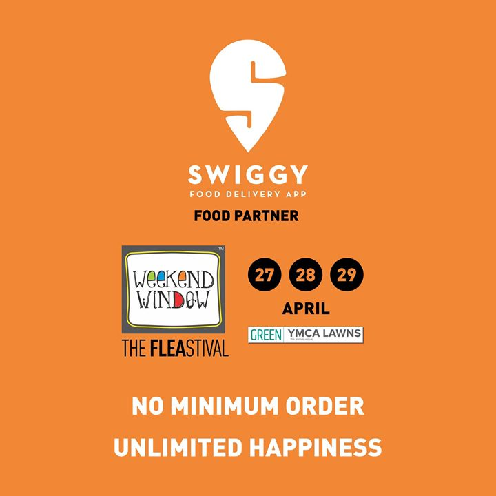 Proud to associate with Swiggy as our Food Partner! Swiggy brings food from the best restaurants and desserts to your doorstep.  So head over to the Swiggy Zone at Weekend Window to satisfy all your hunger pangs!  Date:27-28-29 April Venue: YMCA International Centre - Ahmedabad Time: 4pm to midnight  #weekendwindow #theFLEAstival#swiggy #foodpartner #sponsor #foodaholicsinahmedabad #fleamarket #shopping #kids #music #food #entertainment