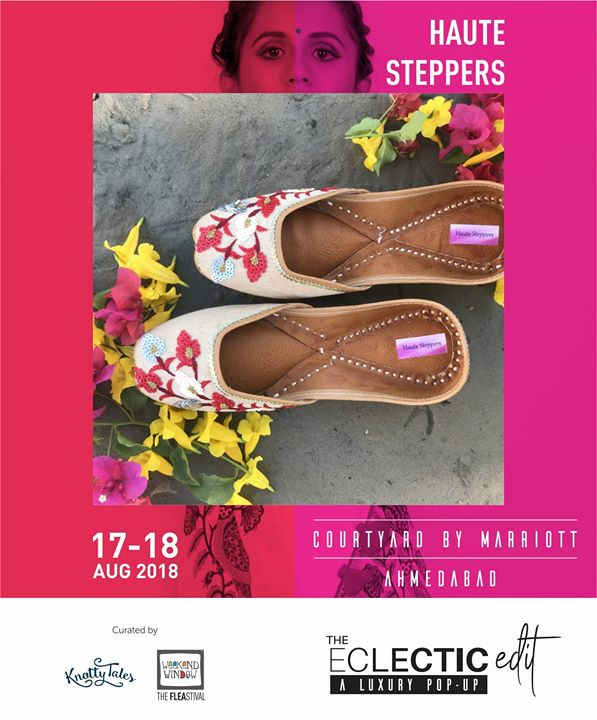 Zardozi, thread embroidery, mirror work, block prints, embellishments, kundan work and many such detailed juttis are designed by Haute Steppers from Jaipur. They are super excited to give Amdavadi women's jutti statement a fresh take.  65+ brands showcasing at The Eclectic Edit - Season 3 a curated luxury pop-up by Knotty Tales & Weekend Window  #juttis #footwear #handmade #handcrafted #detailing #design #mirrors #kundan #embroidery #cutdana #embellishments #theeclecticedit #knottytales #weekendwindow #happyfeet #shopping