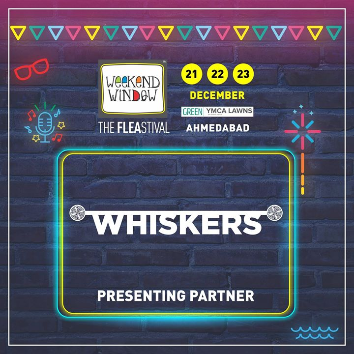 Weekend Window 14th edition is presented by one of the best grooming brands, Whiskers! Glad to have them on board with mutual aim of always bringing something innovative to the city!  Date: 21-22-23 December, 2018 Venue: YMCA Club Lawn, Ahmedabad Timing: 4 pm to 11 pm #weekendwindow #fleamarket #shopping #fashion #jewelery #fashionaccesories #musthaves #designerwear #fleastival #countdownbegins #whiskers #partner