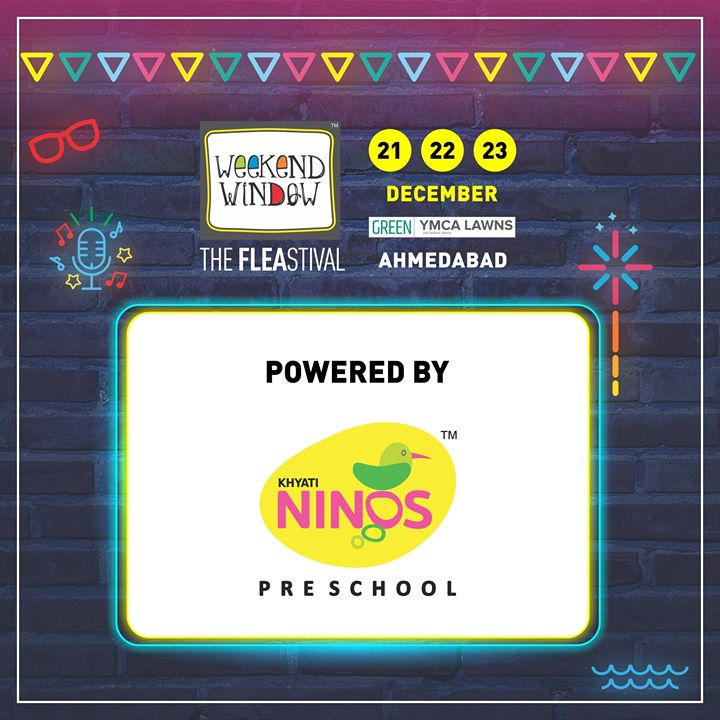 Excited to have Weekend Window 14th edition POWERED BY  Khyati Ninos !  Khyati Ninos is Ahmedabad best & largest education services provider in the Pre-School (Jr. & Sr. Kg) segment and is a part of Khyati Group's Education  Date: 21-22-23 December, 2018 Venue: YMCA Club Lawn, Ahmedabad Timing: 4 pm to 11 pm #weekendwindow #fleamarket #shopping #fashion #jewelery #fashionaccesories #musthaves #designerwear #fleastival #countdownbegins #KhyatiNinos #partner