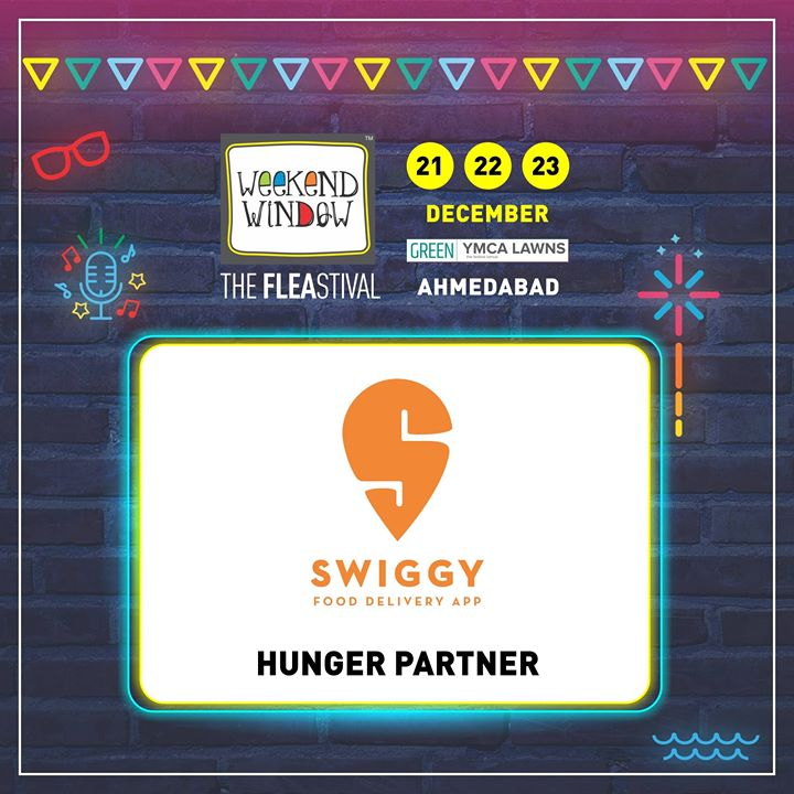 Proud to have Swiggy on board as HUNGER PARTNER of Weekend Window's 14th Edition! DO visit their lounge at the event to have the Swiggy experience.   Date: 21-22-23 December, 2018 Venue: YMCA Club Lawn, Ahmedabad Timing: 4 pm to 11 pm #weekendwindow #fleamarket #shopping #fashion #jewelery #fashionaccesories #musthaves #designerwear #fleastival #countdownbegins #Swiggy #partner
