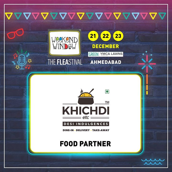 Glad to have Khichdi etc. on board as FOOD PARTNER of Weekend Window's 14th Edition! They serve the comfort food of Khichdi in all a variety of different flavours!   Date: 21-22-23 December, 2018 Venue: YMCA Club Lawn, Ahmedabad Timing: 4 pm to 11 pm #weekendwindow #fleamarket #shopping #fashion #jewelery #fashionaccesories #musthaves #designerwear #fleastival #countdownbegins #KhichdiETC #partner