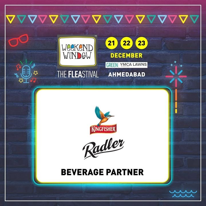 Refresh yourselves with  Kingfisher group's KINGFISHER RADLER at 14th Edition of Weekend Window! With zero percent alcohol,it lets you enjoy every moment , anytime.  Glad to have them on board as Beverage Partner!   This young startup of the city extends online and offline activation assistance to several events! Date: 21-22-23 December, 2018 Venue: YMCA Club Lawn, Ahmedabad Timing: 4 pm to 11 pm #weekendwindow #fleamarket #shopping #fashion #jewelery #fashionaccesories #musthaves #designerwear #fleastival #countdownbegins #kingfisherradler #partner