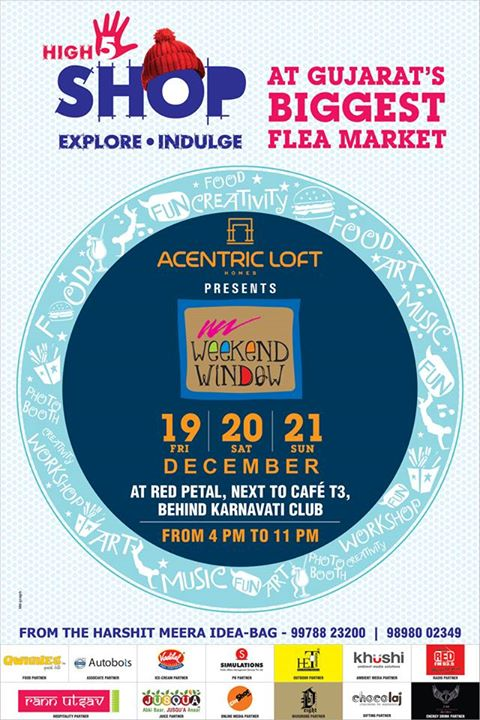Hurray!!  The first look of our final poster for all of you.. Share, spread and smile :)  We are bringing to you a plethora of amazing shopping stuff, bundle of activities for kids and teens, some rocking music and bands, deliciously hot food & a lot more surprises!!!!  Weekend Window only on 19,20,21 December at Red Petal Lawn, Besides T3 cafe, Behind Karnavati Club, Ahmedabad from 4 - 11 pm.  See you there!  Cheers! Stay Creative! Luv Team WW