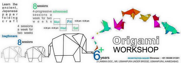 We just come across something Amazing..  #Origami #workshop !!   Fun with paper. Kids and Adults are welcome to join the fun !Starts 4th May2015.   Batches : Mon Wed Fri Sat  For two weeks.  Time : 11Pm - 1Pm and 3.30 Pm - 5.30 Pm  For further info call/text/whatsapp  +91 99 30 001201  Registration compulsory