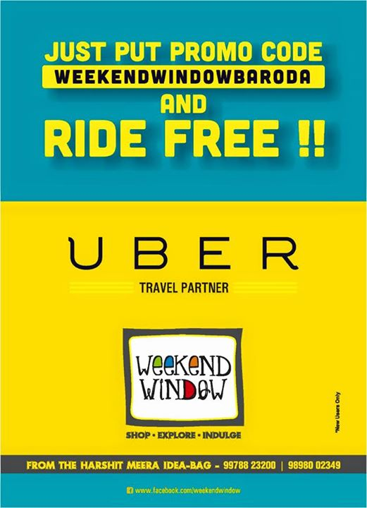 Guys.. Did you check this super cool offer by UBER??  Now come to Weekend Window for FREE!!! All the new users can come and go back and enjoy Uber ride at zero cost!  So book your Uber and have a hassle free visit to Weekend Window!  Cheers!