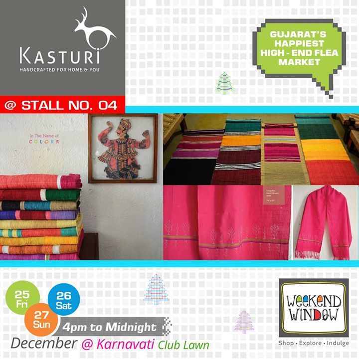Adding up a feather in the kitty of Weekend Window, we have Kasturi bringing to you a beautiful collection of home textiles & scarfs. Check out their products at Stall no. 4!  Cheers! Stay Creative! Team WW  #weekendwindow #shop #explore #indulge #creative #colorful  #workshops #music #food #entertainment #paisawasool #christmas #fleamarket