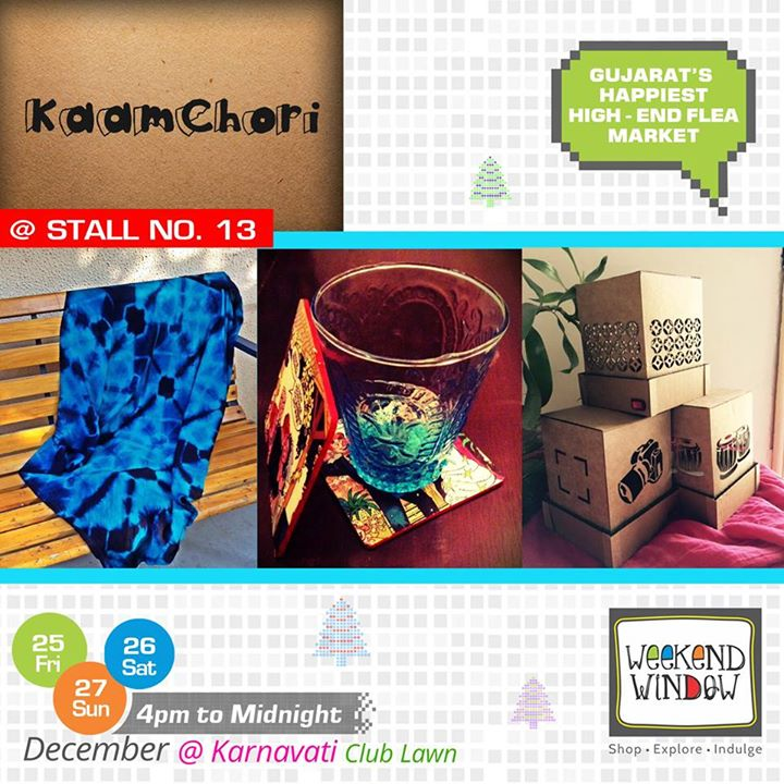 Kaamchori combines our love for different textiles, fabrics, recycled and corrugated materials into beautiful, one of a kind products that would appeal to anyone looking for unique pieces for their homes or themselves! Find them at Stall no. 13 for some exclusive products!  Cheers! Stay Creative! Team WW #weekendwindow #shop #explore #indulge #creative #colorful #workshops #music #food #entertainment #paisawasool #christmas #fleamarket