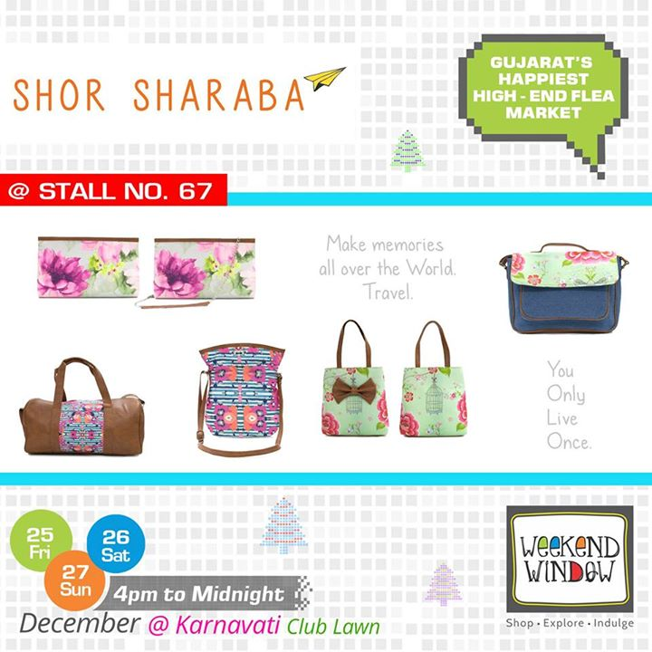 Fun & Filmy. Quirky & Innovative. Shor Sharaba offers bags, wallets and accessories! Make some SHOR Oye! at Stall no. 67 at Weekend Window   Cheers! Stay Creative! Team WW  #weekendwindow #shop #explore #indulge #kidsactivities #colorful #creativity #food #music #installations #art #workshops #ww