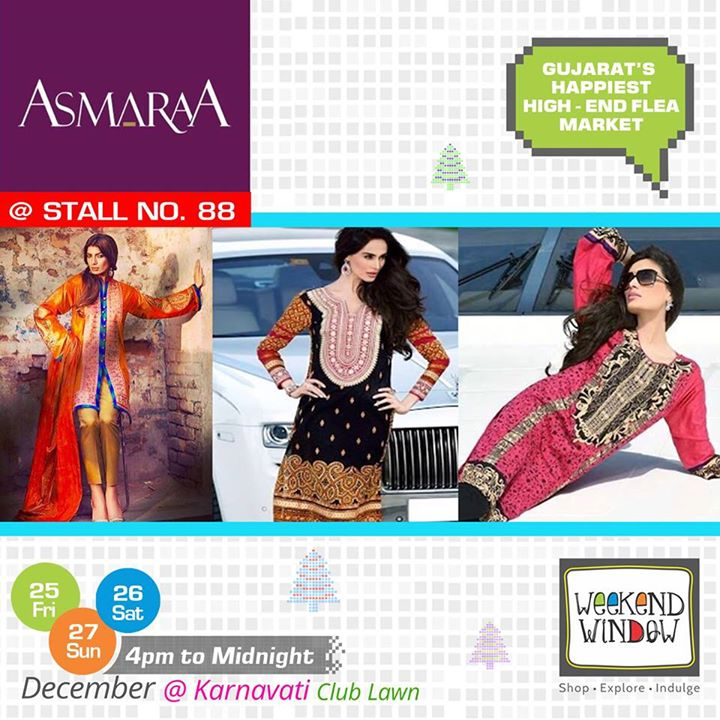 Asmaraa is brand which works in collaboration with Pakistani Designer. Visit Stall no. 88 at Weekend Window for elegant pakistani wear  Cheers! Stay Creative! Team WW  #weekendwindow #shop #explore #indulge #kidsactivities #colorful #creativity #food #music #installations #art #workshops #ww