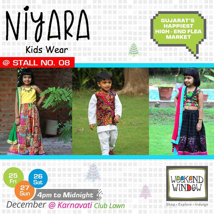 Fashion is no longer all about adults! Kids are getting into it as well, and when you choose NIYARA - Clothing for Kids; rest assured, you are in for a classy treat for your little munchkins between 2 to 8 years old. Check out stylish yet affordable, ethnic yet gorgeous, traditional yet trendy Wear only for your Kids at their Stall no. 8 at Weekend Window  Cheers! Stay Creative! Team WW  #weekendwindow #shop #explore #indulge #kidsactivities #colorful #creativity #food #music #installations #art #workshops #ww