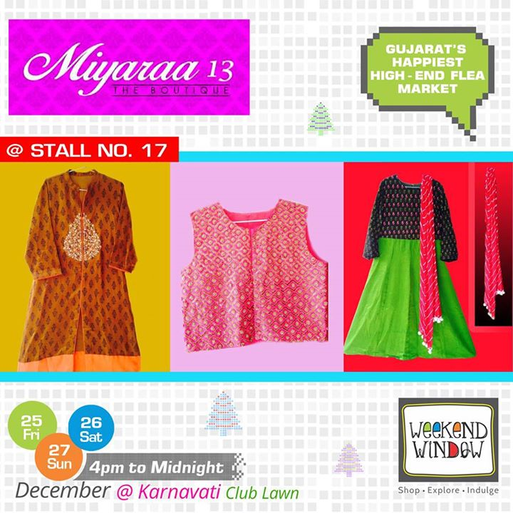 Miyaraa 13 houses the eclectic collection of Indo-Western, Chaniya cholis, Gowns, Anarkalis which are woven by her love and passion for design, art, colors and fashion. Visit them at Stall no. 17 at Weekend Window  Cheers! Stay Creative! Team WW  #weekendwindow #shop #explore #indulge #kidsactivities #colorful #creativity #food #music #installations #art #workshops #ww