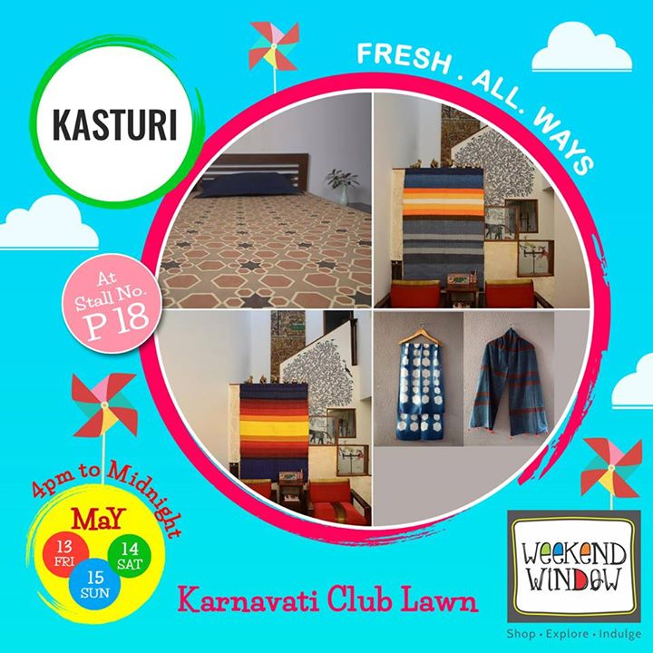 Kasturi is a brand for handcrafted usable and wearable products specially created for Home and You. As close is Home to your heart, so is a Craft for us.  Stop by their stall #P18 at Weekend Window.  Cheers! Stay Creative! Team WW #fleamarket#shop#explore#indulge#Ahmedabad#gujarat