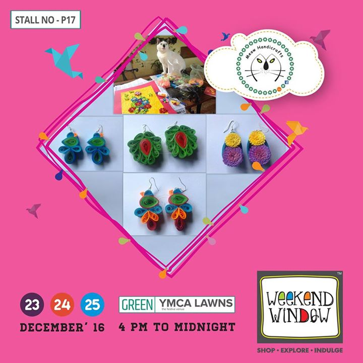Meow Handicrafts offer unique paper jewellery. Started by a journalist and named after her cat, the brand is a celebration of colours and life. Visit us without fail; be Meow!   Cheers! Stay Creative!