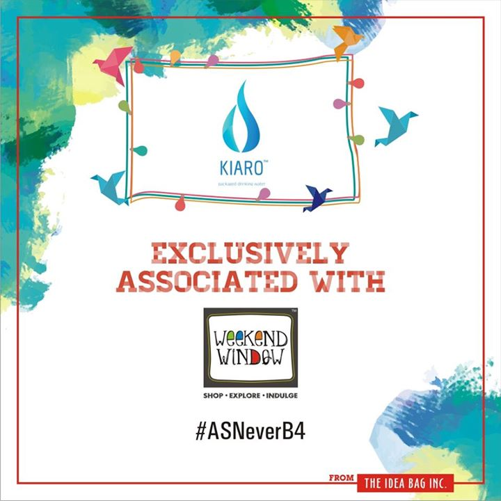 So proud to announce KIARO as our water partner for quality packaged water. They always design to cater the needs for pure and safe drinking water with the aid of sophisticated technology which takes care of the end users always!   #experienceASNEverB4 #weekendwindowASNeverBefore #dec2016#christmans #ahmedabad #shopping #food #music #entertainment#standupcomedy #comedians #carnival #fleamarket #shop #explore#indulge Cheers! Stay Creative!