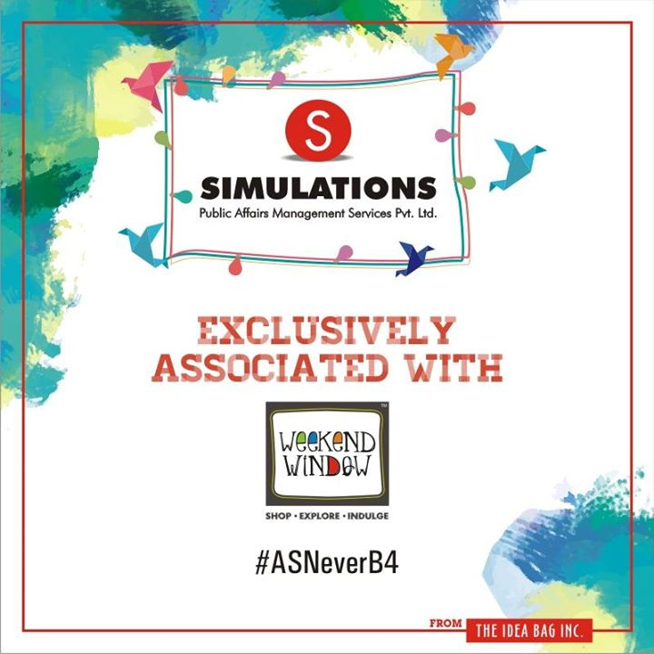 Simulations is an independent Public Affairs Management Firm and a creative thought-leader in strategic communications. As one of the fastest growing firms in India, they have an established presence in Western & Central Indian states.   #experienceASNEverB4 #weekendwindowASNeverBefore #dec2016#christmas #ahmedabad #shopping #food #music #entertainment#standupcomedy #comedians #carnival #fleamarket #shop #explore#indulge  Cheers! Stay Creative!
