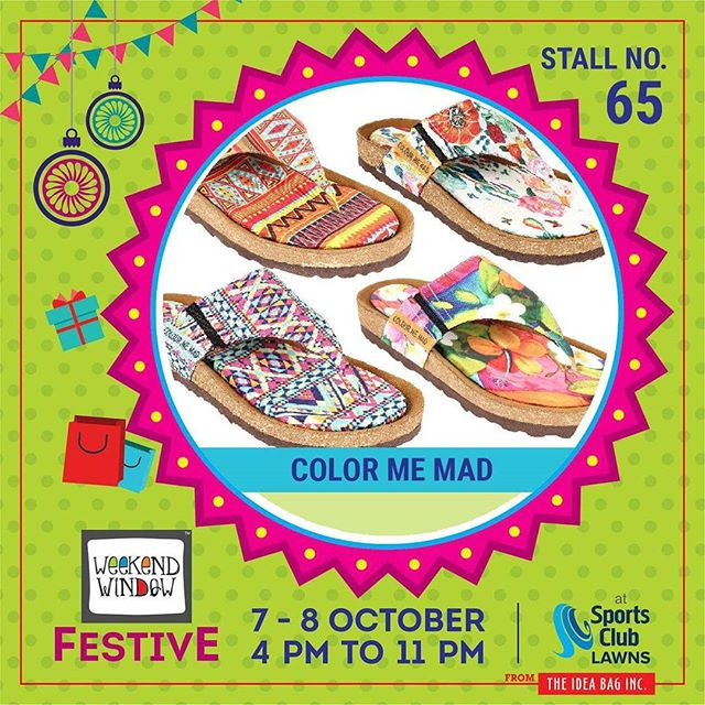 @colourmemadflipflops provides footwear which are creative, full of colors  and at the same time very comfortable too. It improves body postures and is made of natural cork, rubber, latex etc.They are ideal for flat feet, cones and those with foot swellings. #weekendwindow #theideabaginc #curatedevent #diwalishopping #weekendwindowfestive #prediwali #shopping #diwaligifting #sportsclubofgujarat #diwalivibes #festivevibes #festivities #shoptillyoudrop #whatwomanwants #kidsactivities #workshops #art #craft #Foodaholics #Fun #Entertainment #music #enjoyement #love #foodporn #foodbitting #fleamarket