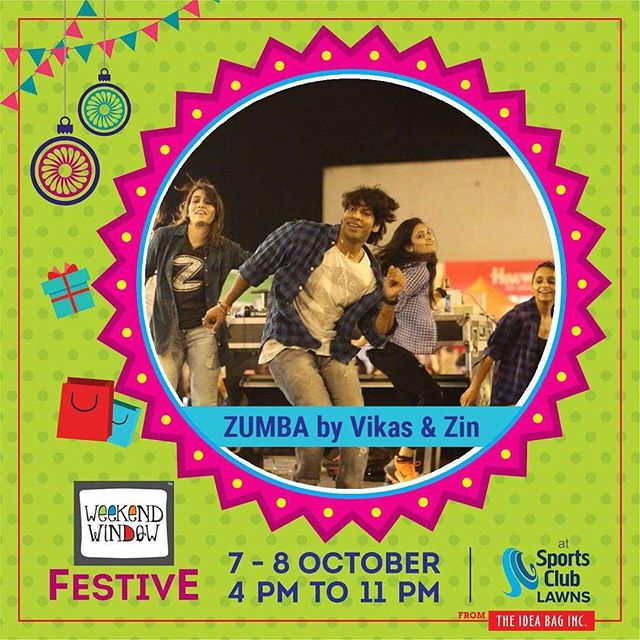 Vikas Sharma Zin Zumba @studiovfnd Venue : Sports Club of Gujarat Lawn, Ahmedabad Date : 7-8 October, 2017 Time : 4pm to 11pm #weekendwindow #theideabaginc #prediwali #diwalivibes #shopping #fun #foodaholic #entertainment #shoptillyoudie #music #stageperformance #dance #diwalicollection #fleastival #sportsclub #festive #diwali #shoptillyoudrop