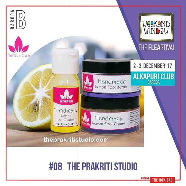 @gupta_meeta THE PRAKRITI STUDIO is a brand of handmade skin care products that will nourish your skin & are chemical free . Their products are made by finest oils, butters,herbs & botanical.  Date: 2nd -3rd Dec 2017 Venue: Alkapuri Club lawn. Time: 4 p.m. to 11 p.m. #WeekendWindow #theFLEAstival #unbeatable #Barodabeready #shopping #kidsactivities #workshops