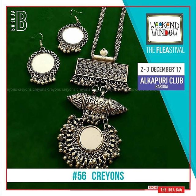 @creyons_ The authentic ethnic & western jewellery, they are  specialized in all the types of Gifting Products. -Necklace - Personalized Shoes - Personalized Cards - Quilled Cards - Crochet Hand Bags  Date: 2-3 December, 2017 Time: 4 pm to 11 pm Venue: Alkapuri Club Lawn, Baroda #weekendwindow #theFLEAstival #shop #explore #induge #ahmedabad #barodaherewecome