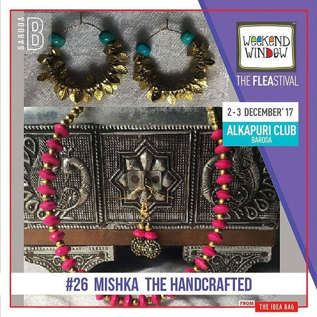 "@mishka_thehandcrafted means ""Gift of Love"". Their products are handcrafted with love for every age group. A blend of Handicraft with a touch of a modern design is just what you need to have with anything and everything you wear. #1daystogo Date: 2-3 December, 2017 Time: 4 pm to 11 pm Venue: Alkapuri Club Lawn, Baroda #weekendwindow #theFLEAstival #shop #explore #induge #ahmedabad #barodaherewecome"