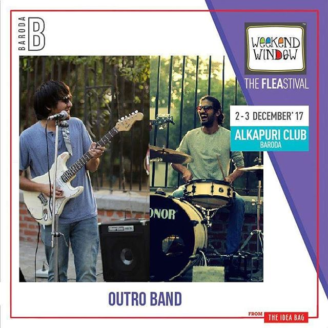 @Outro is a 3 piece Hindi Rock Band known for their high on energy performances and their own versions of Bollywood Retro songs. Come watch them play some live music at Weekend Window Baroda this weekend. Drums - @siddharth_shastri26 Guitars/Vocals - @aarizsaiyed #1daytogo Date: 2-3 December, 2017 Time: 4 pm to 11 pm Venue: Alkapuri Club Lawn, Baroda #weekendwindow #theFLEAstival #shop #explore #induge #ahmedabad #barodaherewecome