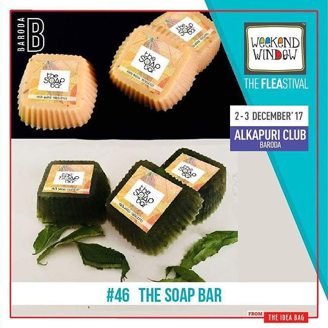 The Soap Bar is a homemade, chemical free, natural handmade soap brand. Their use of natural ingredients makes the product of utter high quality and shows great results on continual usage!  Date: 2-3 December, 2017 Time: 4 pm to 11 pm Venue: Alkapuri Club Lawn, Baroda #weekendwindow #theFLEAstival #theunbeatable #shop #explore #induge #ahmedabad #barodaherewecome