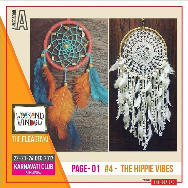 @thehippievibes hand crafted native dream catchers and macrame jewellery by Kanisha Acharya.  @chappersindia  makes the most authentic, premium, good quality, handcrafted leather sandals inspired from the taditional Indian Kolhapuri chappals.  @khes.textiles textiles  brings to you a wide range of beautifully crafted fabrics for your personalized ensemble.  @thegluaffair  brand designs theme-based collection in collaboration with multiple illustrators and designers.  Date: 22-23-24 December, 2017 Time: 4 pm to 11 pm Venue: Karnavati Club Lawn, Ahmedabad #weekendwindow #theFLEAstival #theunbeatable #shop #explore #indulge #fleamarket #workshops #love #masti