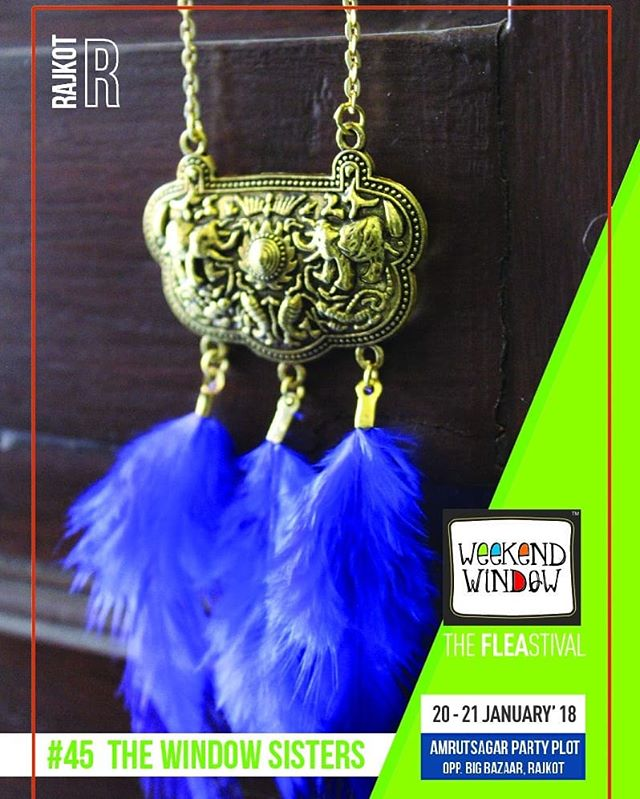 @the.prettywindow and @the.bluewindow Brand Name-The Window Sisters We have handmade and ready collection of jewelry, greeting cards, diaries, scarfs and a lot of new collection that you will love, within the range of 50Rs-700Rs  Do drop by  Date: 20-21 January, 2018 Time: 4 PM to 11:00 PM Venue: Amrutsagar Party Plot  #weekendwindow #theFLEAstival #theunbeatable #shop #explore #indulge #fleamarket #workshops #love #BeardoWeekendWindow
